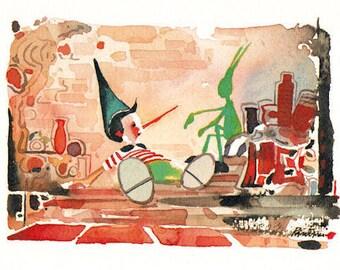 Pinocchio and Jiiminy Cricket