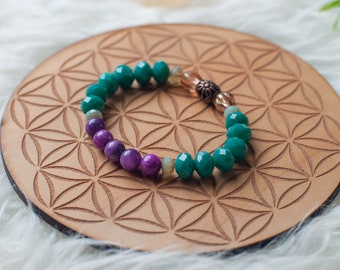 Faceted Czech Glass beaded bracelet in Teal and Purple with Light Green & Gold Accents