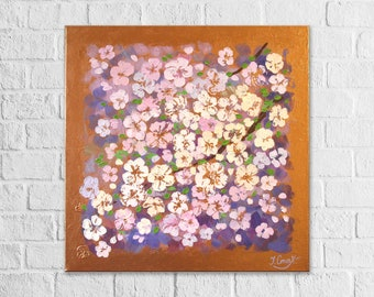 Abstract Blossom Painting Textured Wall Art Cherry Blossom Painting On Canvas Purple Gold Flower art Original Acrylic Floral Painting