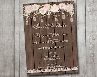 Wedding Save The Date Mason Jars Flowers Lace Wood Shabby Vintage Rustic Printable Customizeable Digital File