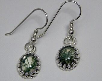 Moss Agate Doublet Earrings; Moss Agate and Crystal Quartz Earrings