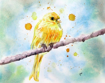 Yellow canary Watercolor PRINT, Bird Painting, Bird Painting, Animal Painting, canary painting