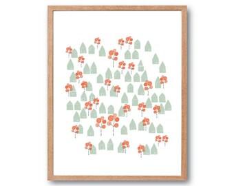 A Lovely Little Town Print - Orange Green - Children room Decor, Illustration, Drawing, Kids room Art