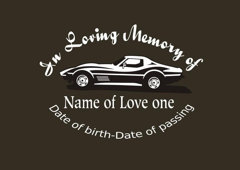Corvette memory decal in loving memory car decal custom memory auto decal corvette