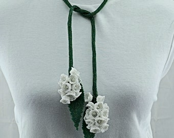 Lily of the Valley beaded rope Necklace
