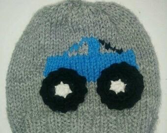 Monster truck hat boys, boys truck hat, knit truck hat boys, girl's truck hat, kid's truck hat, truck beanie, monster truck beanie