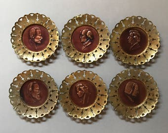 Vintage Brass Copper Plate Set of 6 Made in England