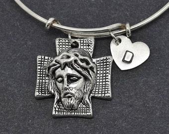 Jesus Bangle, Sterling Silver Bangle, Jesus Bracelet, Bridesmaid gift, Personalized Bracelet, Charm Bangle, Initial Bracelet, Christian