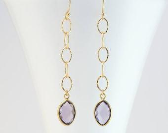 Alexandrite Quartz Drop Earrings, Gold Birthstone Earrings Dangle, Birthstone Jewelry, Personalized Gift for Her, Light Amethyst, Hammered