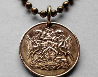 1966 to 1972 Trinidad & Tobago 1 cent coin pendant Trinidadian Tobagonian Trini Scarlet Ibis bird Port of Spain caribbean necklace n000398