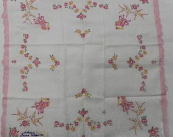 Vintage Hankie Never Used 1950's Bird and Floral Design