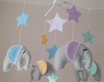Baby Mobile - Elephant Mobile - Cot Mobile - Baby boy Mobile - Nursery Decror - Pastel Decor - Crib Mobile