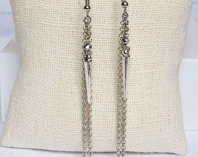 Silver Athena Drop Earrings, Bead Earrings, Dangle Earrings, Spike Jewelry, Boho Jewelry, Silver Earrings