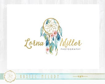 Dream Catcher Logo,Floral Logo Design ,Photography Logo ,Artisan Logo ,Boutique Logo ,Shabby Chic Logo,Home decor Logo