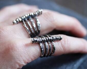 Rib Cage Ring- Vertebrae Cage Ring - Cage Ring - Vertebrae Ring - Open Back Ring - Adjustable Ring - Goth Ring - Stacked Ring -