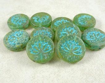 Lotus Flower Bead, Czech Flower Beads, Czech Glass Beads, Czech 18mm Lotus Flower Beads, Aqua Picasso, Blue Green Picasso, (RJ-3402) Qty. 2