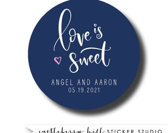 Love is sweet sticker, favor bag sticker, bridal shower favor, favor label, love is sweet label, circle sticker, square sticker