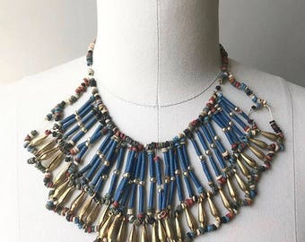 Vintage 1920s Egyptian revival bib necklace with brass, clay, and faience tube beads - 20s