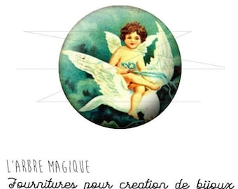 2 cabochons craft Angel Blues white ref 1452 - 18 mm