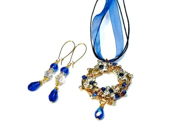 Cobalt Blue Prom Necklace Earring Set, Wreath Pendant, Jewelry Set, Upcycled, Repurposed, Handmade