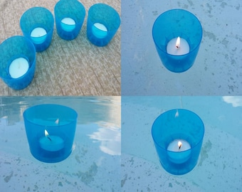 Floating Blue Tea Light Candle Holders - Set of 4
