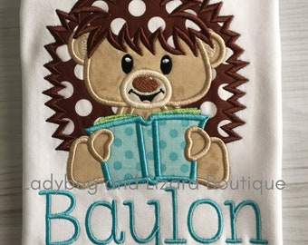 Boy Hedgehog with Book Reading Buddy Short/Long Sleeve Top Sizes 12M-18M, 2T-5T, 6