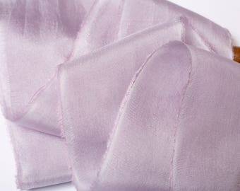 hand-dyed silk charmeuse ribbons in a pale lilac, stationery ~ weddings ~ bouquets ~ gifts ~ paper crafts ~ styling