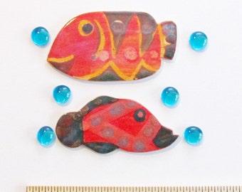 fish Mosaic tile: 2 unique HM  vibrant color HM ocean OOAK designer set stoneware