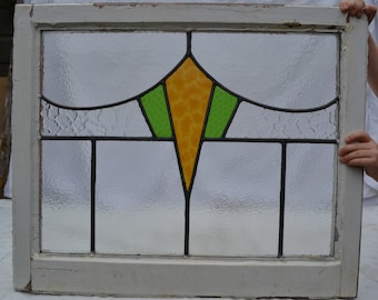 1 art deco British leaded light stained glass panel. R624a. WORLDWIDE DELIVERY!!!
