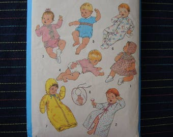 vintage 1980s Simplicity sewing pattern 9515 Babies layette size 6 months