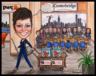 Custom caricature, retirement gift, retirement for woman, retirement for men, retirement cartoon, retirement caricature, wedding gift,