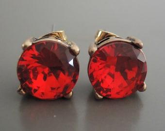 Ruby Earrings - Gold Earrings - Rhinestone Earrings - Stud Earrings - Crystal Earrings