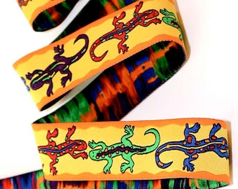 "Woven Jacquard ""Gecko"" Ribbon - 1""  Yellow, Orange, Red, Purple, Lime, Blue etc."
