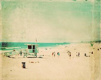 large wall art, beach photography, nostalgia, Hermosa Beach California lifeguard, surfer, aqua blue emerald green 60x40 print