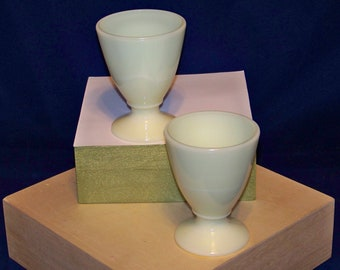 2 Vintage McKee GENUINE SEVILLE YELLOW Footed Juice Tumbler or Egg Cup  ---  #C140121