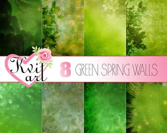 Vintage Green Spring Paper Set. Rustic old digital wallpaper kit for DIY projects. Fancy Emerald Leaves & Flowers. Scrapbooking Background