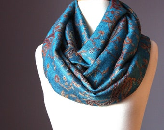 Teal Pashmina Infinity Scarf / paisley Jacquard / women scarves