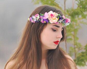 Purple flower crown Boho flower crown Pink purple Floral crown flower crown Bohemian headpiece crown Wedding bridal crown Flower crown