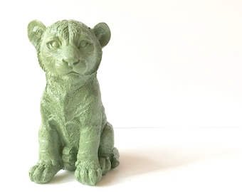 OLIVE GREEN, Tiger Cub Statue for Table Top, Animal Statue, Green Animal, Safari decor, Kids room, Kids Safari decor, Green Tiger, Jungle