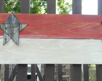 Red White Reclaimed Wood Flag Farmhouse Rustic Primitive Original Art