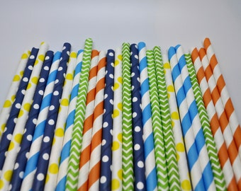 ROBOT Party Straws - Stripe Paper Straws - Paper Party Straws - QTY 25 - Boys Birthday - Robot birthday
