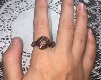 Brown wire wrapped ring