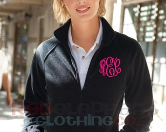 Monogrammed Full Zip Jacket, Monogrammed Fleece Jacket, Monogrammed Full Zip, Monogrammed Jacket, Personalized Jacket, Embroidered Jacket