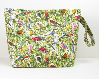 Australian birds 6 skein project bag for knitting, crochet storage bag with snaps, large knitting bag
