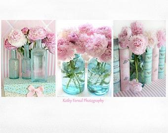 Peony Prints, Peony Photographs, Peony Photos, Aqua Pink Peony Prints, Pink Peonies, Shabby Chic Decor, Shabby Chic Floral Prints, Peony Art