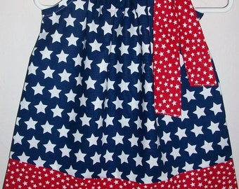 Patriotic Dress with Stars 4th of July Dress Pillowcase Dress All Stars  Red White and Blue Patriotic Outfit Patriotic Clothes for Girls