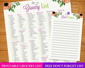 Master Grocery List Checkmark Printable Grocery Shopping List Organized Grocery List Complete Grocery List Organization Printable To Do List