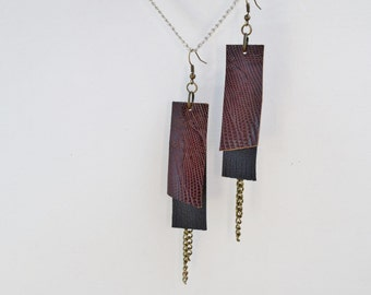Snake print earrings,black and brown,brown earrings,leather earrings,dangle earrings,drop earrings,snake leather,brown snake,statement jewel
