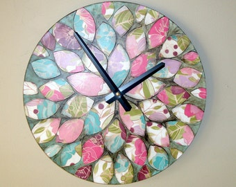 Original Art Wall Clock 12-Inch SILENT, Dahlia Clock, Floral Clock, Hand Painted Clock, Unique Wall Clock - 2200