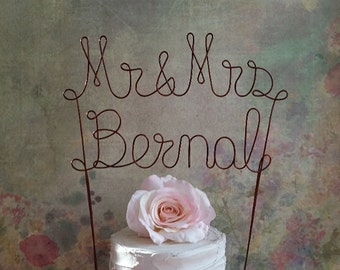 Mr & Mrs NAME Wedding Cake Topper, Personalized Wedding Cake Topper, Name Wedding Cake Topper,Bridal Shower Cake Topper,Rustic Wedding Decor